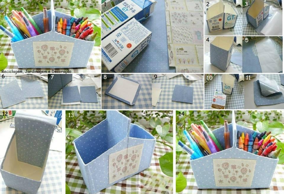 Reutilizar cajas de leche para hacer manualidades paso a paso organizador de escritorio y articulos de papeleria facil y reutilizando