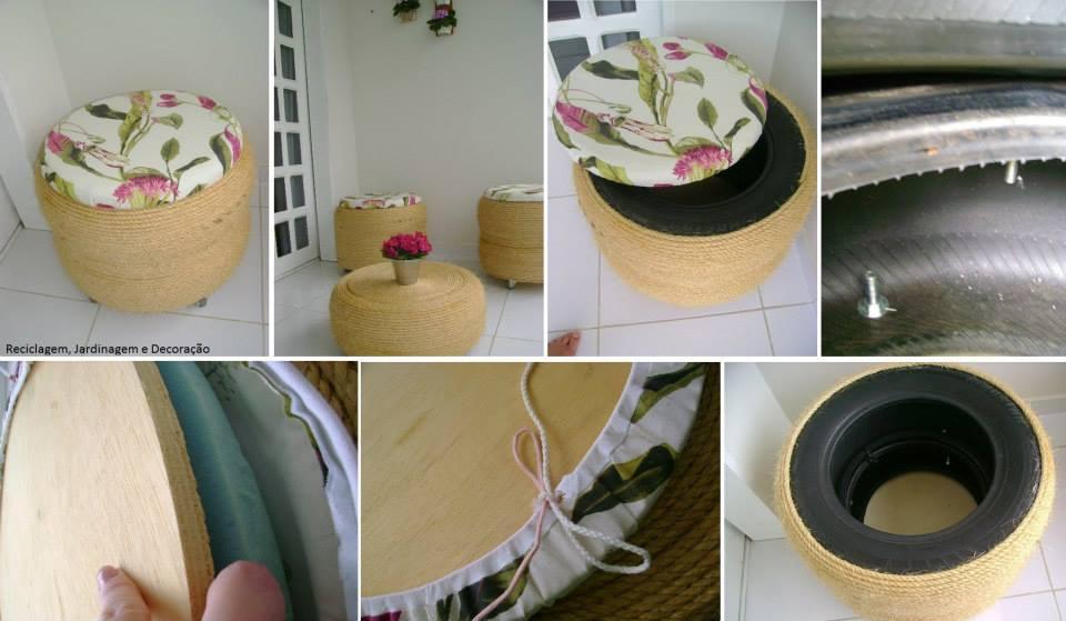 Hermosos sillones y banquetas hechos con ruedas de coches for Ideas para decorar la casa con material reciclado