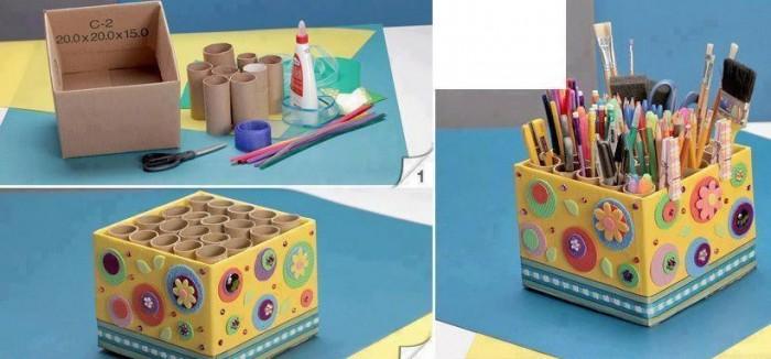 ideas para reutiliza carton organizador de accesorios y material de oficina con caja de carton y rollos de papel