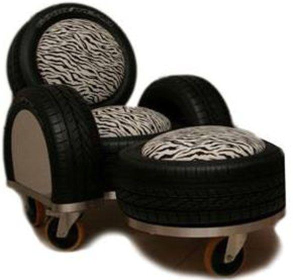 Hermosos sillones y banquetas hechos con ruedas de coches for Muebles con cosas recicladas