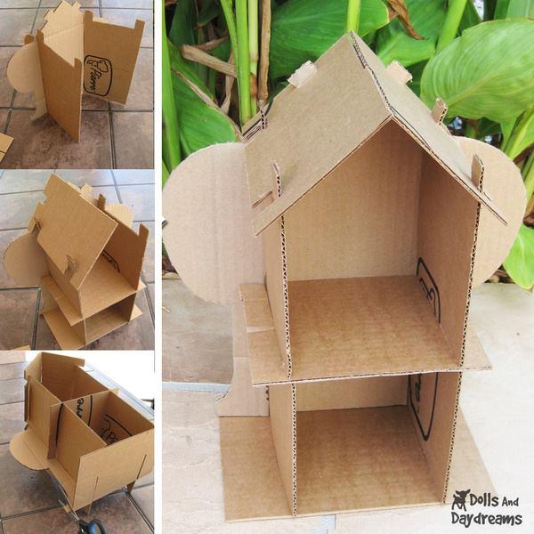 diseños de casitas de muñecas reutilizando materiales paso a paso