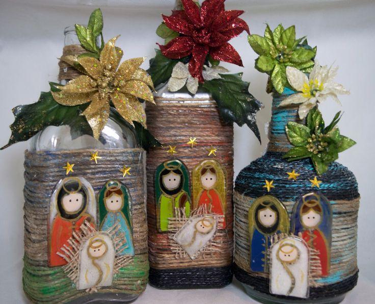 Decoraci n navide a con papel frascos pi as telas y - Adornos navidenos tela ...