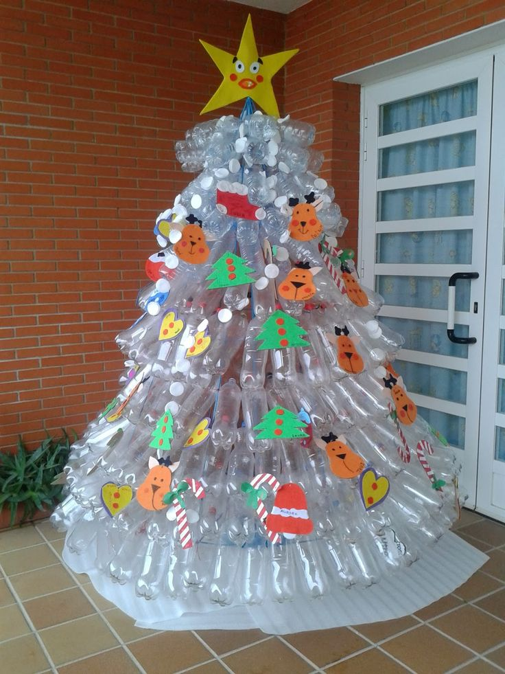 Decoraci n navide a con papel frascos pi as telas y for Adornos de navidad 2017