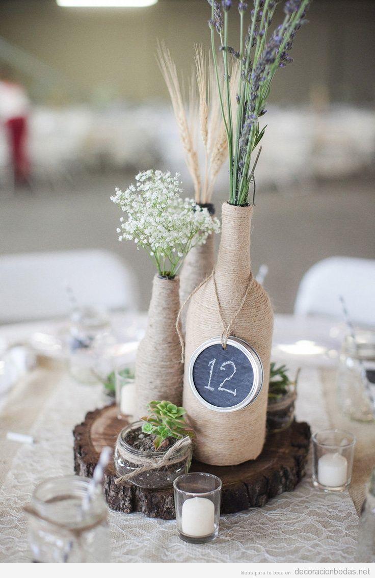 ideas-decorar-boda-centro-mesa-rustico-botellas-hilo-esparto