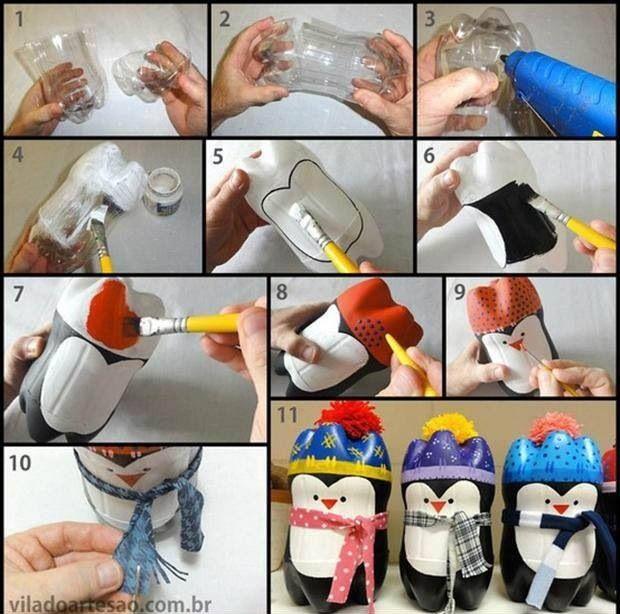 pinguinos-reciclados-para-navidad