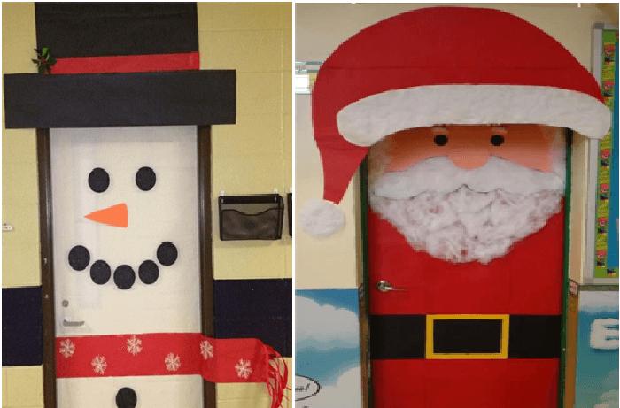 Decoraci n navide a con reciclaje adornos centros de for Ideas para decorar puertas navidenas