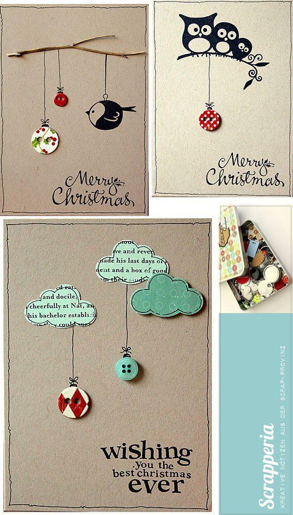 Manualidades de Año Nuevo: Tarjetas para Año Nuevo recicladas y ...