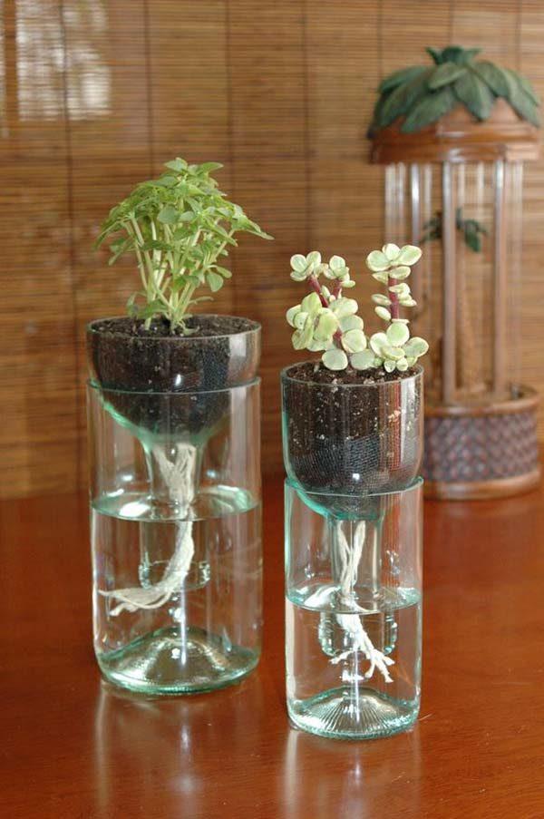 reciclaje manualidades hechas con botellas de vidrio