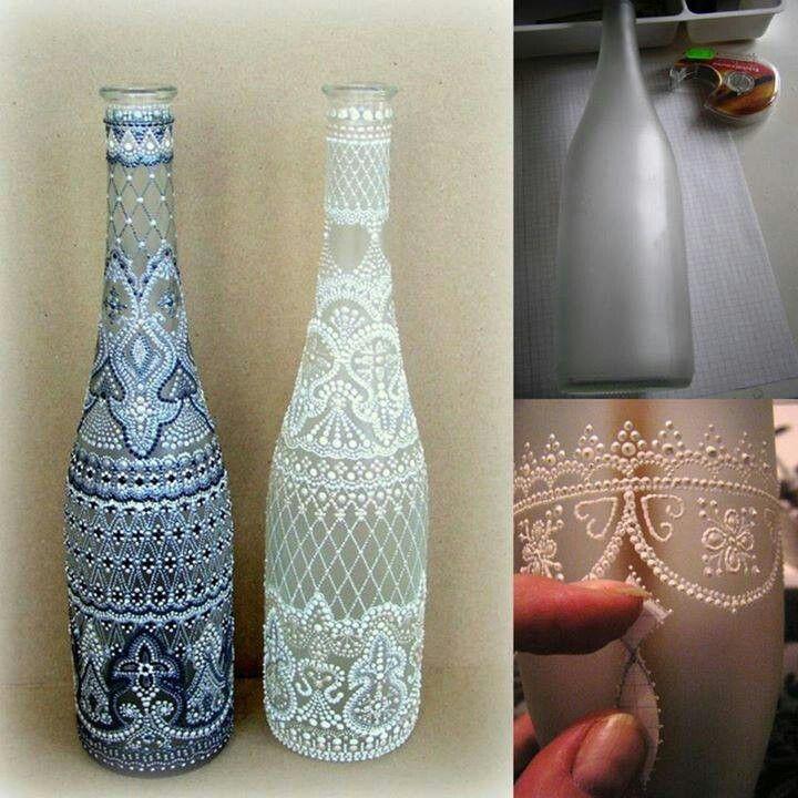 maa para las manualidades finas podes intentar con este modelo sumamente delicado y fino ideal para regalar a alguien especial o para decorar la mesa - Decorar Botellas De Vidrio