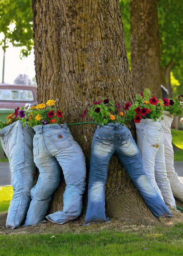 Original Pots With Recycled Jeans